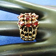 Vintage Gold Plated Garnet Cluster Open Weave Band Ring, Size 8