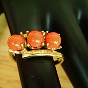 Deep Orange Plastic Triple Bead  Gold Tone Ring, Size 7