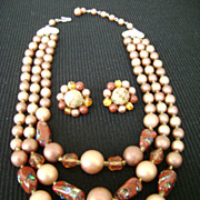 Japan Burnished Browns Glass Bead MultiStrand Collar w/Cluster Clips