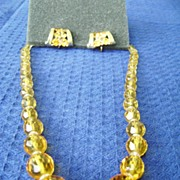 Golden Crystal Vintage Choker w/Yellow Rhinestone Coro Clip Earrings
