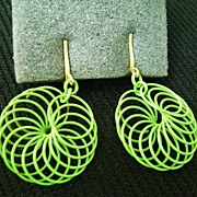 MOD Apple Green Enamel Pinwheel Clip Dangle Earrings