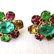Multi-Color Vintage Flower Rhinestone Clip Earrings
