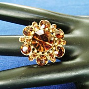 Dark Golden Topaz Rhinestone Adjustible Ring-Flower Design