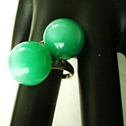 Antique Green Moonglow Double Bead Bypass Adjustable Ring