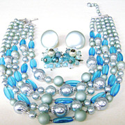 Japan Vintage MultiStrand Blue Glass & Faux Pearl Bib Necklace w/Cluster Clips