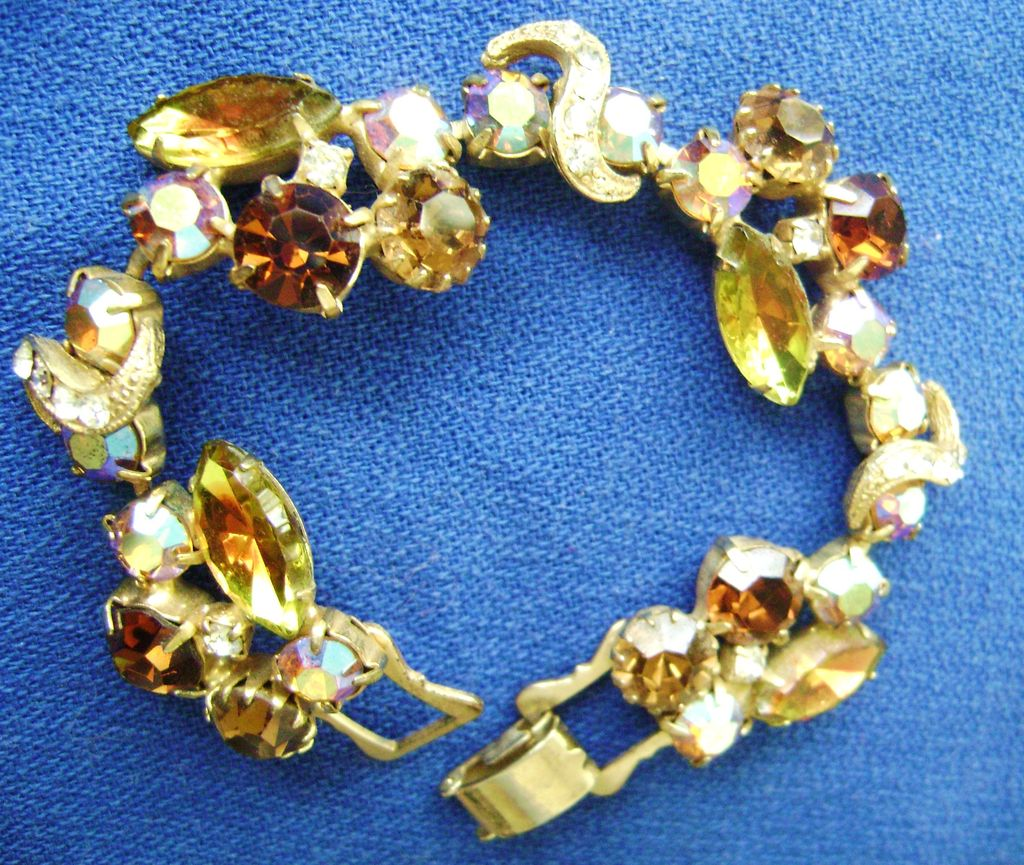 Exquisitely Sparkling Juliana Rhinestone Bracelet - Topaz Shades