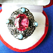Vintage Silver Tone Filagree Adjustable Ring w/Pink Rhinestone