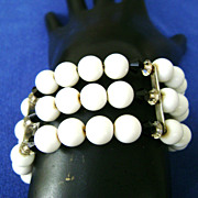 Vintage Black & White Milk Glass Bead Wrap Bracelet