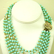 Vintage Aqua & Gold Tone Beaded Demi/6-Strand Bib Necklace & Cluster Clips