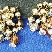 Vintage Gold Tone Bead Multi-Strand Dangle Clip Earrings