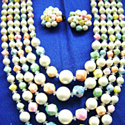 Vintage Multi-Pastel 5-STRAND Demi - Bibb Necklace & Cluster Clips