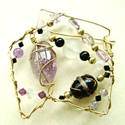 Vintage Wire Wrapped Handmade Art Glass Bead Modernist Pin - Purples
