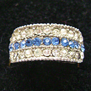3 Row Blue & White Rhinestone Adjustable Vintage Ring