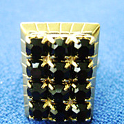 Pretty Black Rhinestone Ring in Gold Tone Rectangle Adjustable Setting