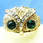 Adjustable Vintage Gold Tone Owl Face Ring w/ Rhinestones