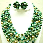 JAPAN Demi 5-Strand Bibb & Cluster Clips in Greens & Gold w/Crystals