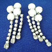 Vintage MILK GLASS & Rhinestone Multi-strand Screw Back Dangles