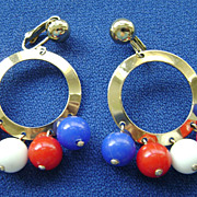 Vintage Sarah Coventry CARNIVAL Red, White & Blue Dangle Earrings