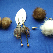 Retro Lot of Vintage FUR Costume Jewelry-Clip Earrings, Stick Pins