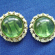 Vintage Green Glass & White Floral Enamel Clip Earrings