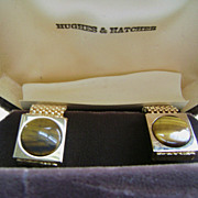 Gorgeous Hughes & Hatcher Mesh Gold Tone  Cuff Links w/Tigers Eye