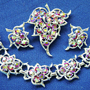 Vintage Rhinestone Sarah Coventry 'Dazzling Aurora' Bracelet-Clips-Brooch