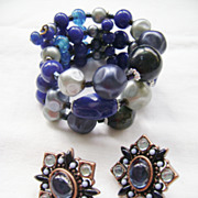 3-Row Blue Glass Wrapped  Bracelet w/Bonus Earrings