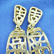 Huge Modernist Gold Tone Hoops w/Oriental Design