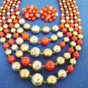 Gorgeous 50s Red& Gold Multistrand Beaded Collar/JAPAN +Cluster Clips