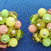 JAPAN Multi-Color Glass Bead Cluster Clip Earrings