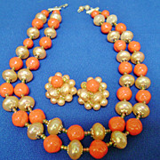 Vintage JAPAN Coral & Peach Beaded Multi-Strand Demi Necklace & Clips
