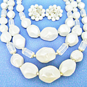 Fabulous Chunky Faux Pearl & Crystal MultiStrand Necklace + Clips