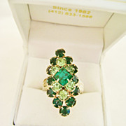 Big Vintage Shades of Green Rhinestone Adjustible Ring