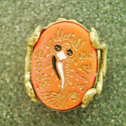 Very Old Asian Carved Fish Ring w/Duck Prongs Adjustible