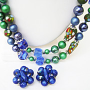 Gorgeous Japan Art Glass & Crystal MultiStrand Blue/Green Necklace + Clips