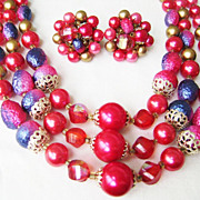 Vintage Japan Fuschia Demi Multi-Strand & Cluster Clips