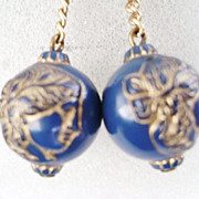 Vintage Carved Blue Bead Dangle Screw Backs - Gold Tone