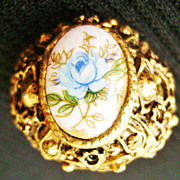 Floral Porcelain Vintage Ring Adjustible Fancy Gold Tone Setting