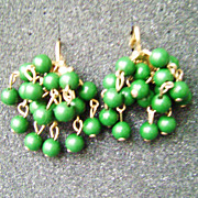 Green Beaded Multi-Strand Dangle Cha-Cha Clip Earrings