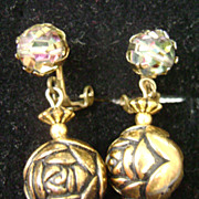 Crystal and Rose Bead Drop Clip Earrings