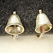Gold Ton Holiday Christmas Bell Clip Earrings w/RS from Avon