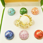 Vintage NOS Changeable Stones Gold Tone Nugget Ring - Size 5