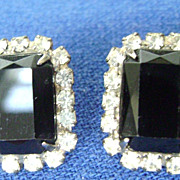Gorgeous VINTAGE Black & Clear Rhinestone Pierced Earrings