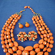 MultiStrand Vintage Plastic Coral Bead W.German Bib Necklace w/Bonus Earrings