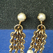 Vintage Gold Tone Multi-Chain & Faux Pearl Dangle Screw Back Earrings
