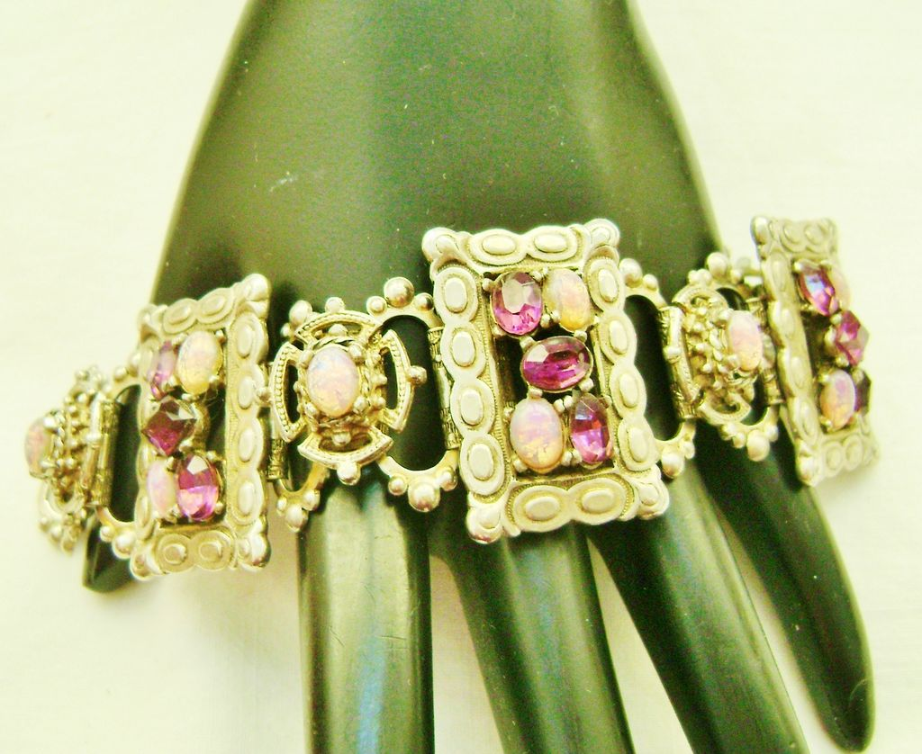 Gorgeous Vintage Purple & Opalite Rhinestone Bracelet on BookChain