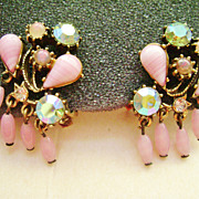 Florenza Vintage Clip Earrings - Pink Glass & Rhinestones, Dangles