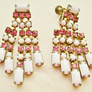 Multi-Strand White Milk Glass & Pink Rhinestone Screw Back Earrings