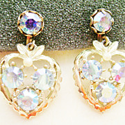 Dangle Heart Screw Back Earrings w/Aurora Borealis Rhinestones