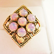 Costume Adjustible Fashion Ring Gold Tone w/Faux Opal Stones